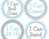 Baby Milestone Stickers Blue & Gray Labels Blue and Grey Chevron and Polka Dots for Baby Boy  - Roll Over, Crawl, Sit Up and Stand