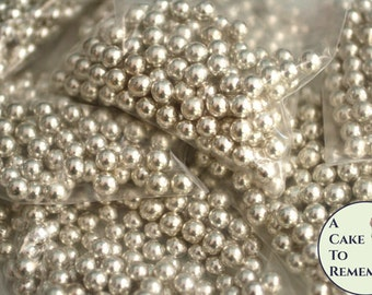 8mm silver dragees for cake decorating, 2.5 oz/80 g, about 175-180 dragees. Silver cake decorations, Silver wedding ideas.