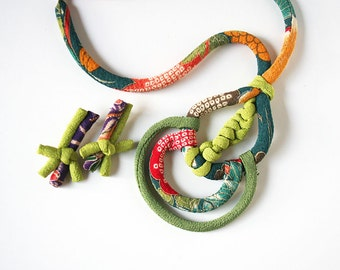 Green japanese fabric parure (necklace+earrings)
