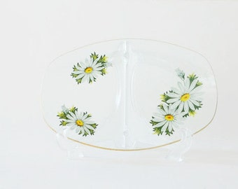 Vintage Chance Glass Fiestaware Floral Tray