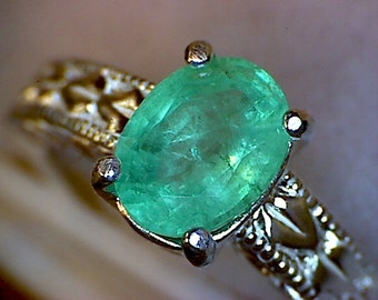 Beautiful Emerald Engraved Shank Ring