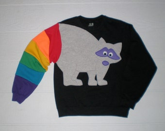 Raccoon Sweatshirt, raccoon rainbow tail sweatshirt, adult size sweatshirt, unisex small, medium. large, XL, XXL, XXXL top.