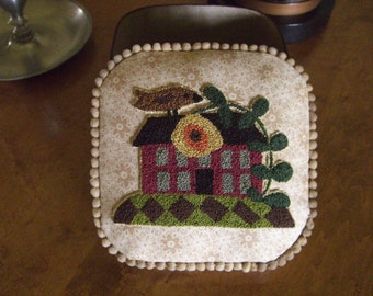 Finished Punch Needle House and Bird Design Pin Cushion Covered Box for Sewing Needfuls or Desk Clutter OOAK