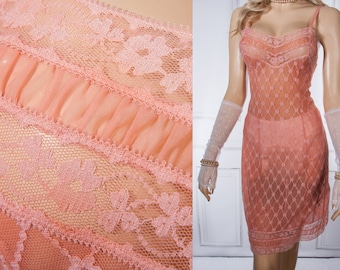 Stunning outrageously sheer double layer pretty rich coral soft Perlon and delicate net lace overlay 50's vintage full slip petticoat - 3775