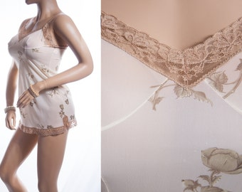 Lovely 'Hautana' 1960's vintage sheer soft cream and coffee floral design Perlon and delicate coffee lace detail mini slip petticoat - 3448