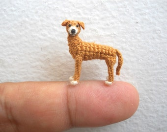 Miniature Greyhound  - Micro Crochet Dog Stuffed Animals - Made To Order