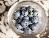 Kitchen Decor Blueberries Fruit Shabby Chic Kitchen Art - Food Print or Canvas Wrap - Blue - White - Grey - Whimsical Photograph.