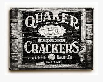 Wood Sign: Black and White Quaker Crate Wood Plank, Rustic Kitchen Decor, Vintage Sign, Antique Kitchen Decor.