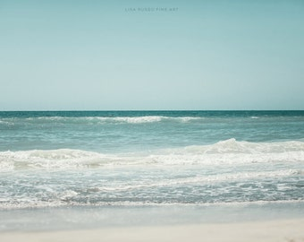 Beach Print or Canvas Wrap, Landscape Photograph, Soft Blue Beach Decor, Turquoise, Aqua, White, Teal, Seashore, Seascape, Nautical Decor.