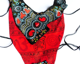 statement mixed media collage, contemporary, tribal, Chest Harness Boho, tribal, bodycage goth punk, leather harness women