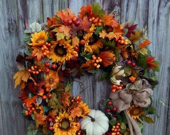 Fall Wreath , Fall Wreath , Door Wreath , Autumn Wreath , Woodland Wreath , Thanksgiving Wreath , Outdoor Wreath
