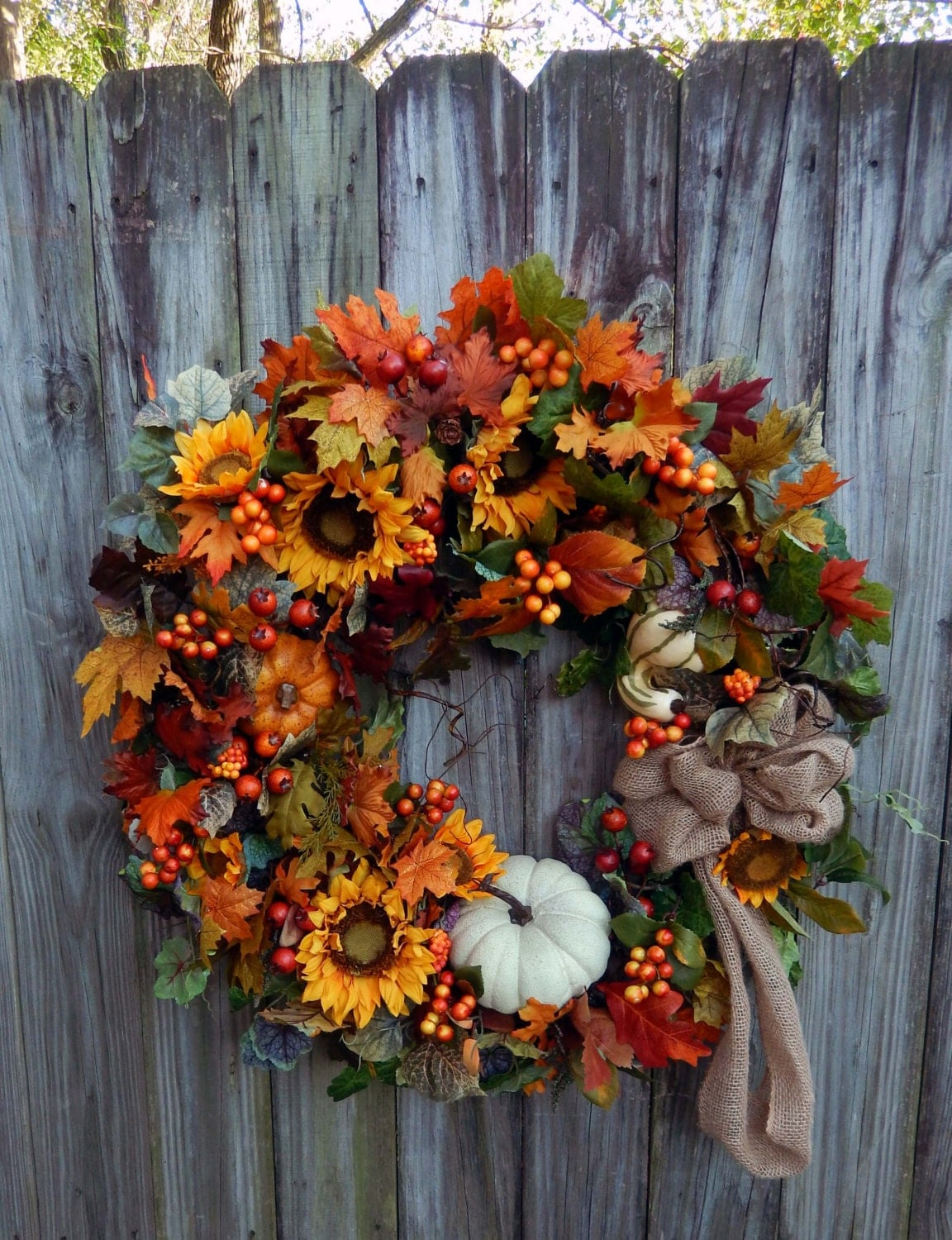 Fall wreath fall wreath door wreath autumn by forevermore1 Fall autumn door wreaths