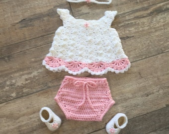 Crochet Baby Girl Dress Set, 0 - 3 Months, Headband, Dress, Diaper Cover, Mary Jane Shoes, Ready to Be Shipped, Free US Shipping