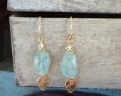 Rustic Faceted Aquamarine Nugget Earrings with Vermeil Rose Leaf Dangles, Hill Tribe Silver accents, Gold Filled Ear Wires, March Birthstone