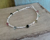 Sundance Style Faceted Mixed Tourmaline and Hill Tribe Fine Silver Bracelet - Skinny Bracelet, Stacking Bracelet, Layering Bracelet