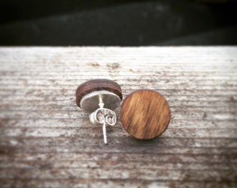 Wood Circle Stud Earrings