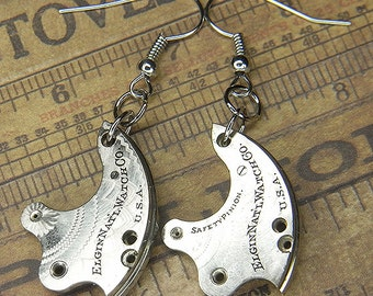 Steampunk Earrings - Bright Silver Vintage ELGIN Train Bridges with Beautiful Floral Etching - Stunning & Bold Surfaces
