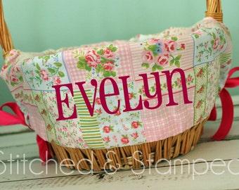 Personalized Easter Basket Liner - Pink Patchwork - Personalized with Name - Custom Basket Liner