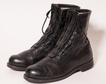 Black Zip Up Jungle Boots Men's Size 11 .5