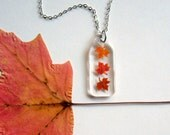 Falling Mini Maple Leaves - Real Autumn Leaves Necklace - Pressed leaves, maple leaves necklace, Autumn, Canada, woodland, miniature, ooak