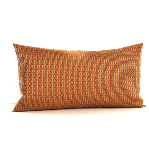 Lumbar Pillow Cover Orange Grey Green Gold Dot Stripe