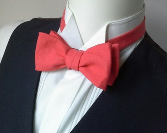 Bow Tie - linen, salmon color, Wedding bowtie - freestyle bowtie / self tie, mens adjustable bowtie - made by Bagzetoile