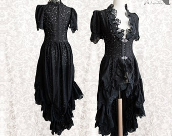 Victorian cardigan, Steampunk over dress, black lace wrap, Flora, Somnia Romantica, size small-medium, see item details for measurements