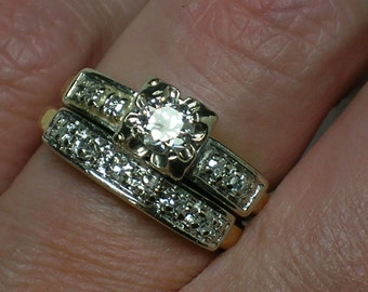 1940s Wedding Set: Bold Mid Century Two-Tone Illusion Head. Euro Cut Diamond. Size 4