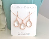 Jewelry Set, Rose Gold Earrings, Bridal Jewelry Set Bridesmaid Set, Bridesmaid gifts, Bridal Set, Best Friend Gift, Bridesmaid Earrings Set