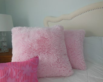 Minky Shaggy Cuddle Pillows - Soft Fluffy Pillow - White Pink Ivory Black Red Silver Chocolate Camel Fuchsia - Bedroom Pillow - Girls Pillow