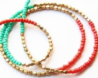 Brass and Color Waist Beads; Scarlet and Turquoise Brass Waistbeads; Brass Belly Chain;