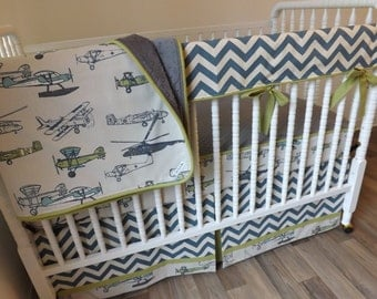 Airplane Crib Bedding- Boy Baby Bedding- Bumperless Bedding- MADE to ORDER- Boy Bedding Set- Baby Bedding Set- Vintage Airplane Bedding