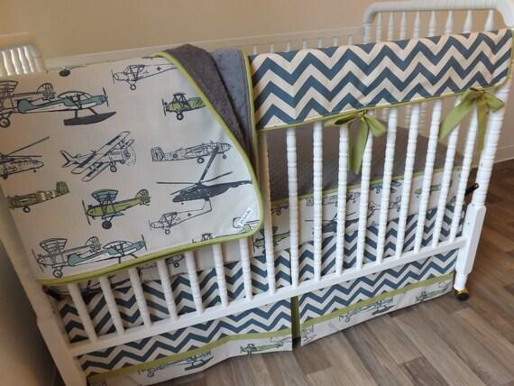 Airplane Crib Bedding Boy Baby Bedding Bumperless Bedding