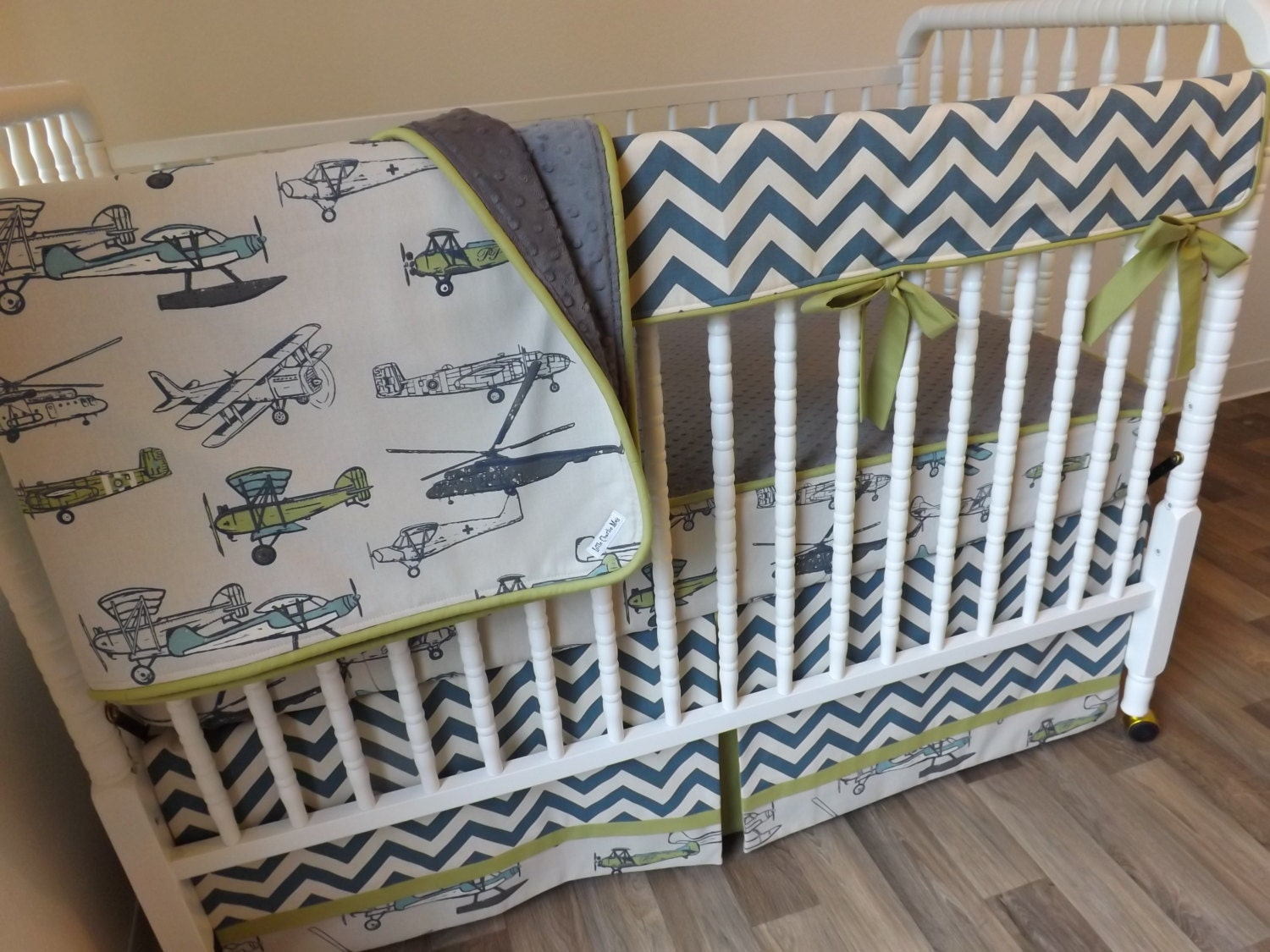 Airplane crib bedding boy baby bedding bumperless bedding - Airplane baby bedding sets ...