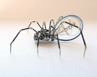 Watch Parts Spider Sculpture No 74 Recycled Watch Parts Clockwork Arachnid Figurine Stems Lightbulb Arthropod A Mechanical Mind Gershenson