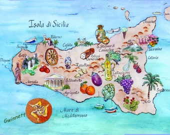 Sicilian Map Large  size
