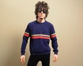 vintage 70s ski sweater 100% acrylic skiing primary color rainbow stripe 1970 ski sweater large L retro skiing stripe jumper