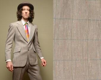 mens vintage suit 70s vintage mens plaid suit grey beige slubbed oatmeal rainbow plaid 1970s wide lapel Nino Cerruti 38 38R slimfit