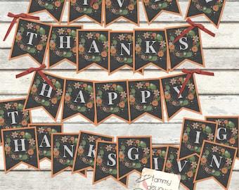Digital Thanksgiving Bunting, Happy Thanksgiving Banner, Give Thanks Fall Garland Printable Friendsgiving pennants, Thanksgiving decorations