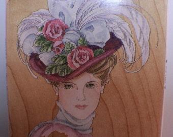 Stamps Happen Feather Bonnet #80164 Victorian Lady  Woman