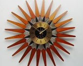 Starburst Clock, mid century, by Seth Thomas. Sunburst Atomic Era Wall Clock