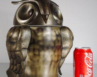 Mid Century Owl Ice Bucket, or Robo-Owl. By Seymour Mann, Pewtertone Olde Tankardware, Made in Japan