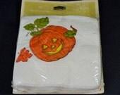 Vintage Hallmark Halloween Napkins Petite Coaster Size Jack O Lantern New In Package Unused Orange Green White 15 Count