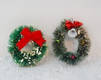 Vintage Bottle Brush Christmas Wreaths Small Green Red Bows Bells Glass Beads Flocked Ornaments Decorations Set of 2 Two