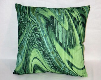 "Green Malachite Pillow Cover, 17"" Square Cotton Blend, New Braemore Fabric, Emerald Swirl, Zipper Cover Only, Ready to Ship"