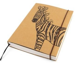 Journal, Notebook, Zebra (Large), Sketchbook, Personal agenda, Travel Journal, Diary, Calendar, Craft, Hardcover, Unique gift, Artistic