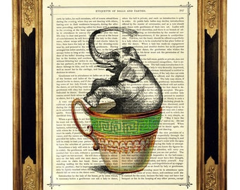 Elephant bathing in Teacup - Vintage Victorian Book Page Art Print Steampunk Nursery