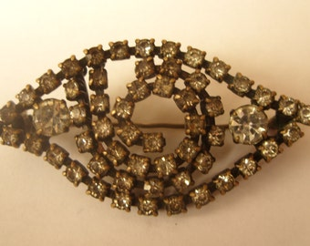 Old VINTAGE Antique Czech Bohemian Glass Jewelry Brooch with stones Brooches