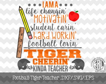 Football-Tiger-Teacher Files INSTANT DOWNLOAD in dxf/svg/eps for use with programs such as Silhouette Studio and Cricut Design Space