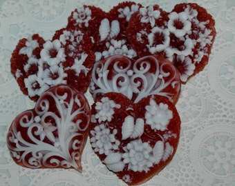 Heart Soap ~ Valentines Day Heart Soaps ~ Set of 6 Sparkle Ruby Red Heart Soaps ~ Sweetheart Soap Gift Set